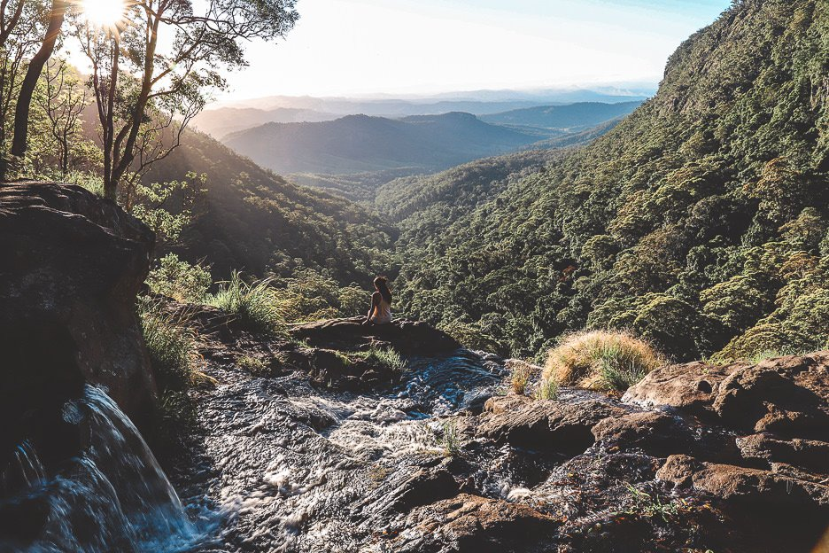 Sunset from Moran Falls in Springbrook National Park | day trips from Brisbane