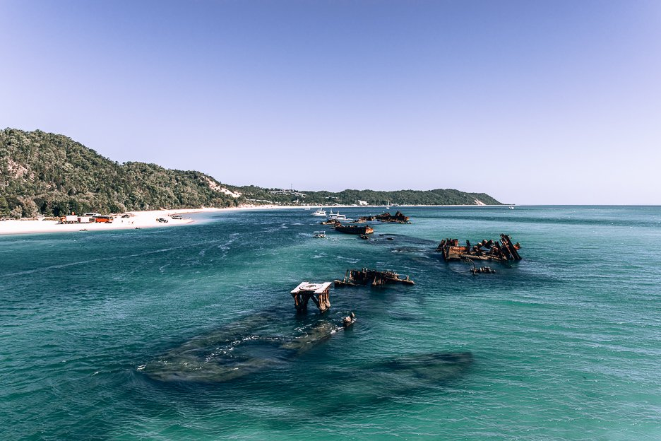 Aerial shot of Tangalooma shipwrecks off Moreton Island - day trips from Brisbane