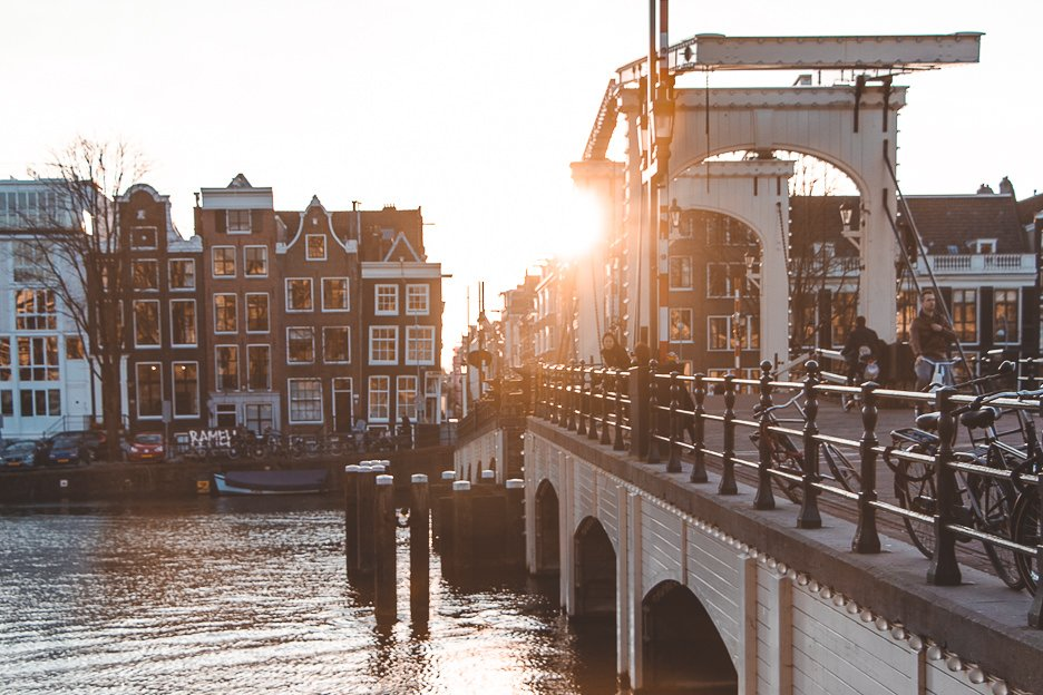 The sun setting over Magere Brug | Instagram worth spots Amsterdam