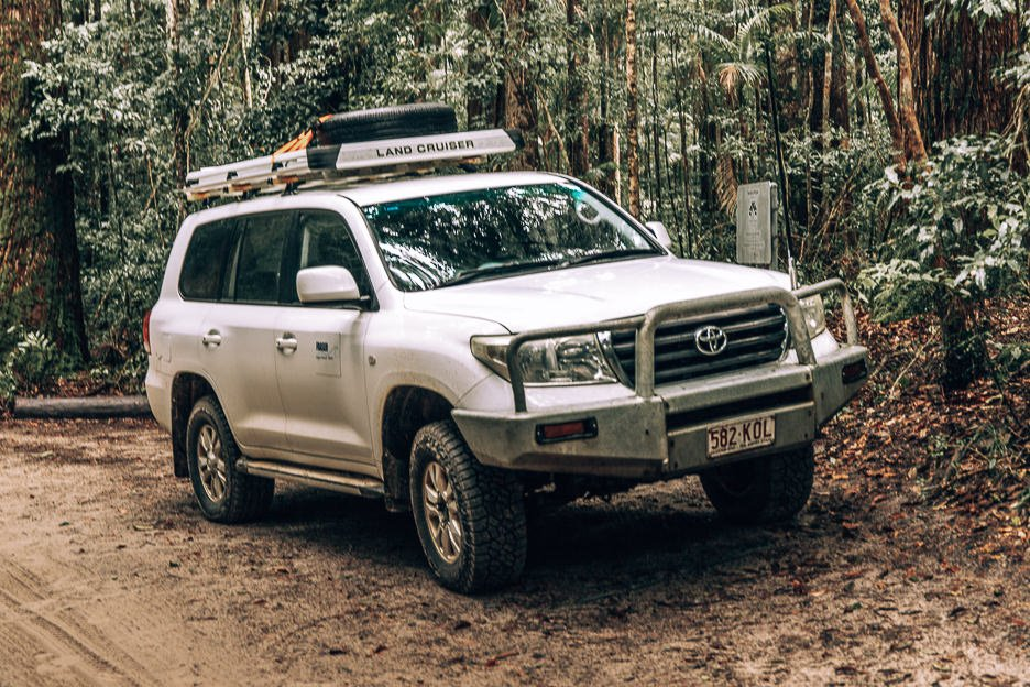 A Toyota Land Cruiser - a 4WD vehicle is necessary on Fraser Island