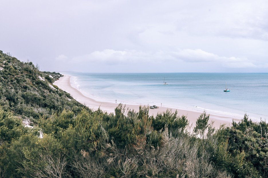 View of the east coast of Fraser Island from atop a sand dune