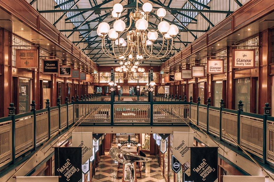 1920s glamour inside Brisbane Arcade, Queen Street Mall