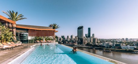Infinity rooftop pool on 21st level at Emporium Hotel Review