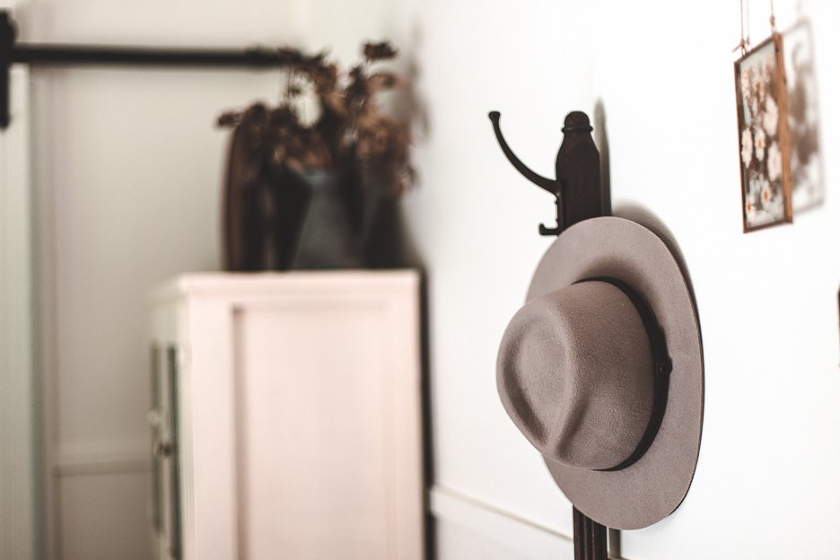 Grey hat on the hat stand - Palmer & Gunn