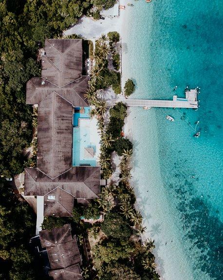 Fitzroy Island Resort from above, Great Barrier Reef Marine Park, Far North Queensland