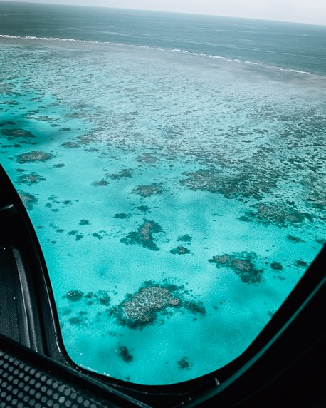The Great Barrier Reef from a helicopter seat
