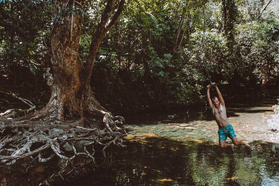 Swinging into the swimming hole at Emmagen Creek