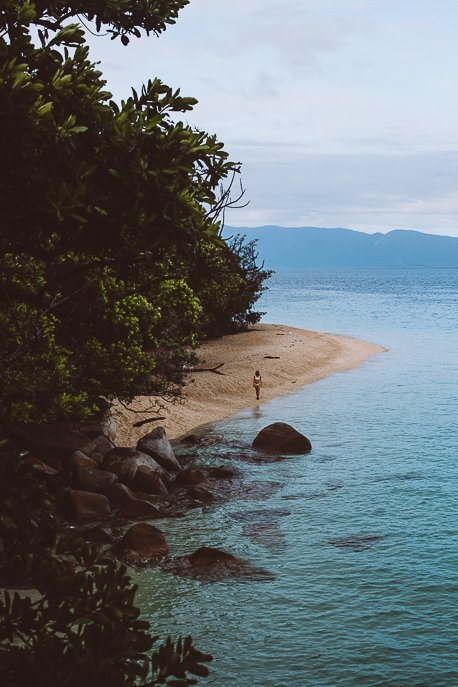Standing on the shore of Nudey Beach in the early morning, Fitzroy Island